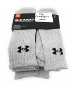NEW Under Armour UA Charged Cotton 2.0 Crew 6 Pairs Socks XL 12-16 Gray ... - $25.74