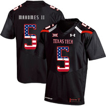 Men's Texas Tech Patrick Mahomes II 5 NCAA USA Flag Jersey, Black - $52.24