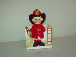 Vintage Fire Fighter collectible pottery art made in Japan INARCO planter - $6.93