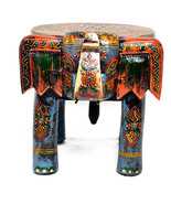 Multi Color Wooden With Stone Elephant Shape Decorative Baby Sitter Stoo... - $52.99