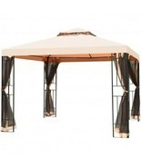10 x 10 ft 2 Tier Vented Metal Gazebo Canopy with Mosquito Netting - £252.64 GBP