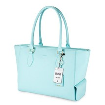 Insulated Lunch Tote, Aqua Faux Leather Picnic Reusable Insulated Tote - $62.99