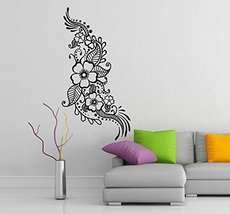 ( 14'' x 28'') Vinyl Wall Decal Henna Pattern with Flowers / Tattoo Design Art D - $21.66