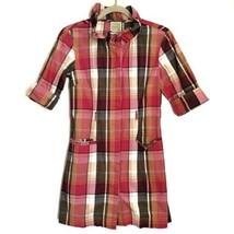 Anthropologie Little Yellow Button Plaid Mini Dress Size XS 3/4 Sleeves - $32.99