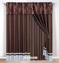 4-Pc Leaf Ribbon Scribble Jacquard Curtain Set Brown Gray Rust Valance Drape - $40.89