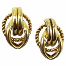 Polished Knot Huggie Earrings Vintage Gold Tone Clip On e809 - $8.99