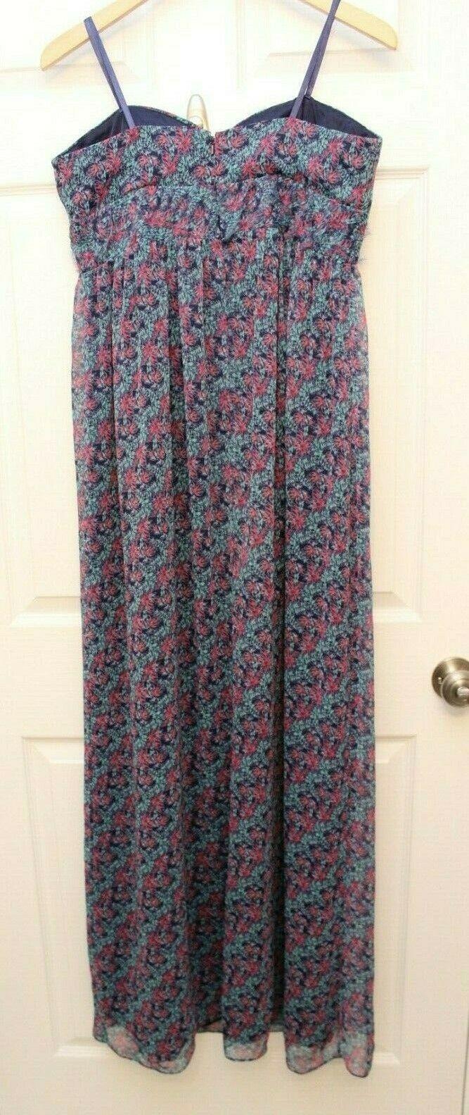 BCBG BCBGeneration Sz 12 Blue Floral Leaf Printed Strapless Maxi Dress
