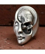 Unique Design Human Duality Hide Yin  Yang Skull Rings Punk Goth Stainle... - $9.33