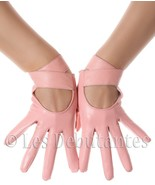 SEXY PINK STRAP LEATHER GLOVES LES DEBUTANTES - $22.99