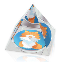 "White & Orange Cartoon Cat Animal Art 3.25"" Crystal Pyramid Paperweight - $29.95"