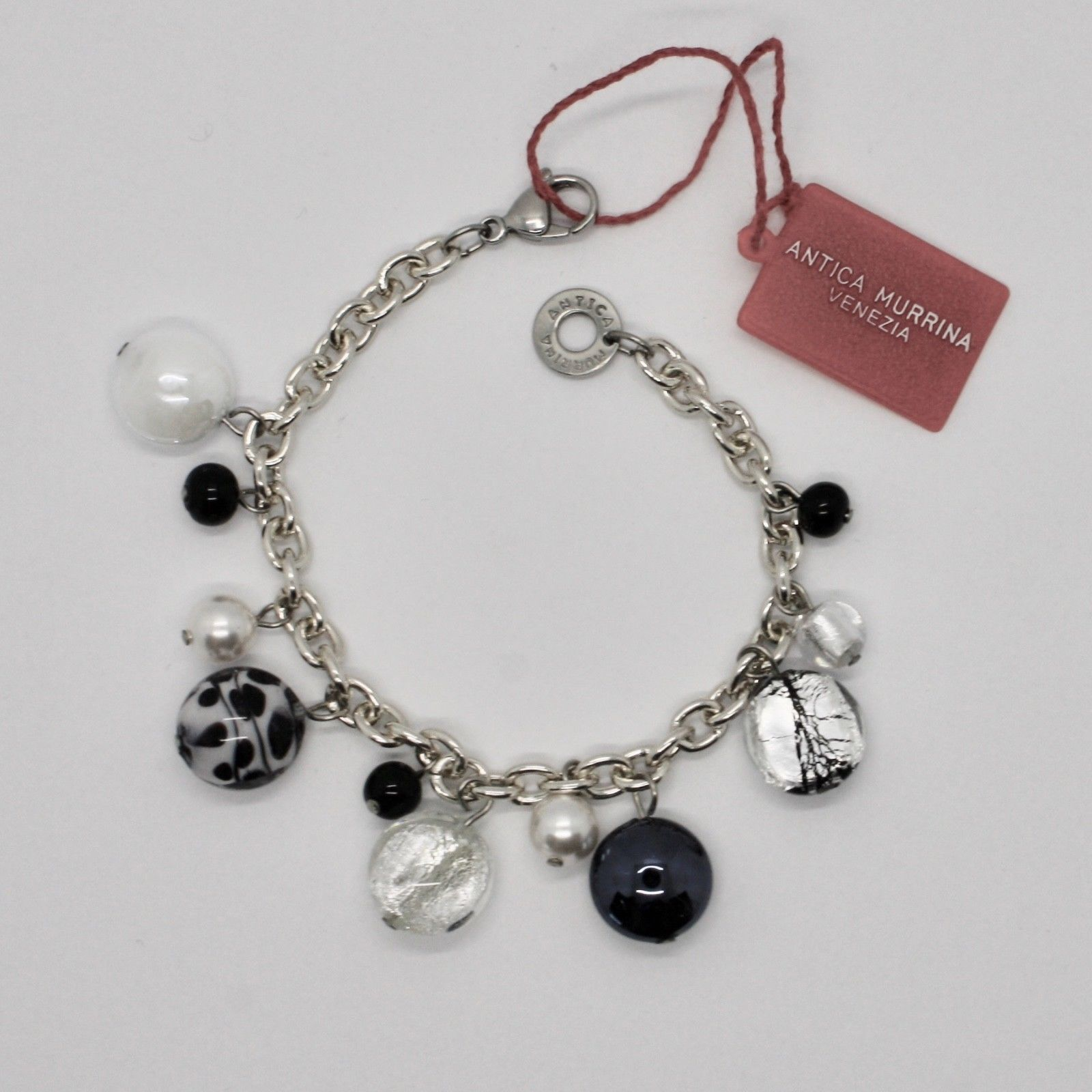ANTICA MURRINA VENEZIA BRACELET WITH MURANO GLASS BLACK AND WHITE BR617A15