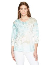 Alfred Dunner Women's Floral Knit Top 3/4 SLV, Multi, Large 4386-4 - $36.56