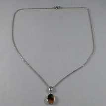 .925 SILVER RHODIUM NECKLACE WITH MESH BALLS AND OVAL OF YELLOW RESIN image 2