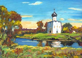 "Akimova: CHURCH, landscape, acrylic, 5""x 7"" - $20.00"