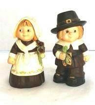 Vintage Hallmark Rare 1970s Boy Girl Ceramic Pilgrim Salt Pepper Shaker ... - $15.83
