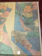 "Vintage 1989 Large Wall Thomas Bros California State Freeway Artery Map 68""x54"" image 8"