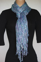 NEW Collection 18 Eighteen Women's Neck Scarf Fringed Shore Blue Silver ... - $10.88