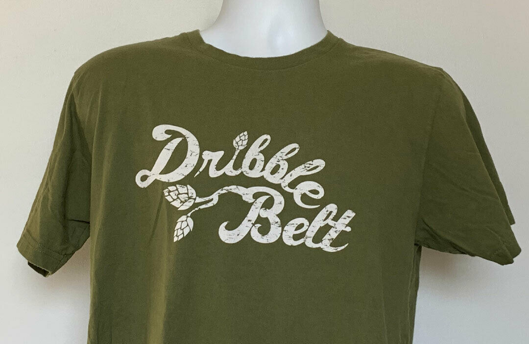 Primary image for Russian River Brewing Dribble Belt Beer T Shirt Mens Large Green Cotton