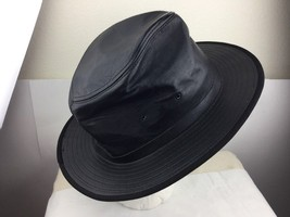Henschel Leather Hat Black X-Large Used made in USA  - $23.36