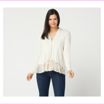 LOGO by Lori Goldstein Rayon 230 Cardigan with Printed Trim, Pearl Orchi... - $23.10