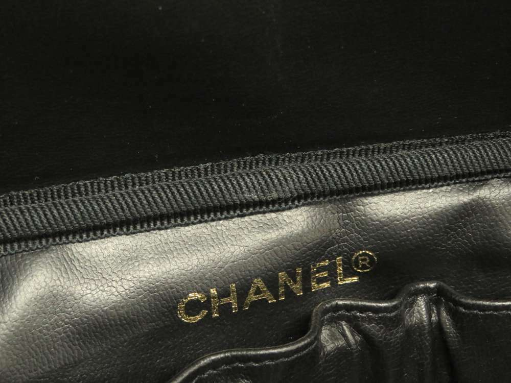 CHANEL Vanity Bag Caviar Leather Black CC Logo Cosmetic Pouch A01997 Authentic