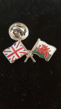 british and welsh flag design. Lapel Pin Badge / tie pin in gift box