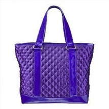 Perlina Quilted Satin Large Tote & Matching Clutch Purse Set, Purple Set - $39.25 CAD