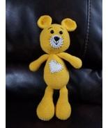 "Yellow heart bear Amigurumi, hand crocheted 13"" Long handmade animals be... - $44.06"
