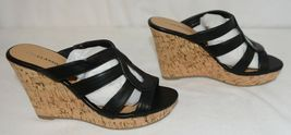 City Classified Layka S Black Sandal Wedge Heel Size 6 And Half image 3