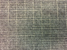 Wool Upholstery Fabric Medium Gray with Embroidered Geometric Grid 5.25 ... - $149.63