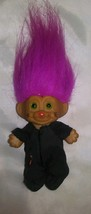 "Vintage Troll Doll  3 1/2"" Russ Halloween Black Cat Magenta Hair - $6.52"