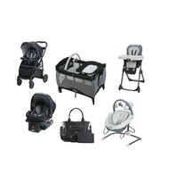 Graco Black Striped Baby Gear Bundle,Travel System, Play Yard,Swing n Di... - $1,310.00
