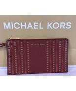 Michael Kors stud mini grommets leather large zip clutch wristlet bag brick - $67.96