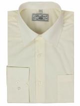 Boltini Italy Men's Ivory Long Sleeve Barrel Cuff Dress Shirt (Ivory, 4XL)