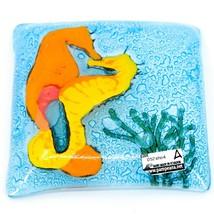 Fused Art Glass Ocean Seahorse Design Square Soap Dish Handmade Ecuador image 2