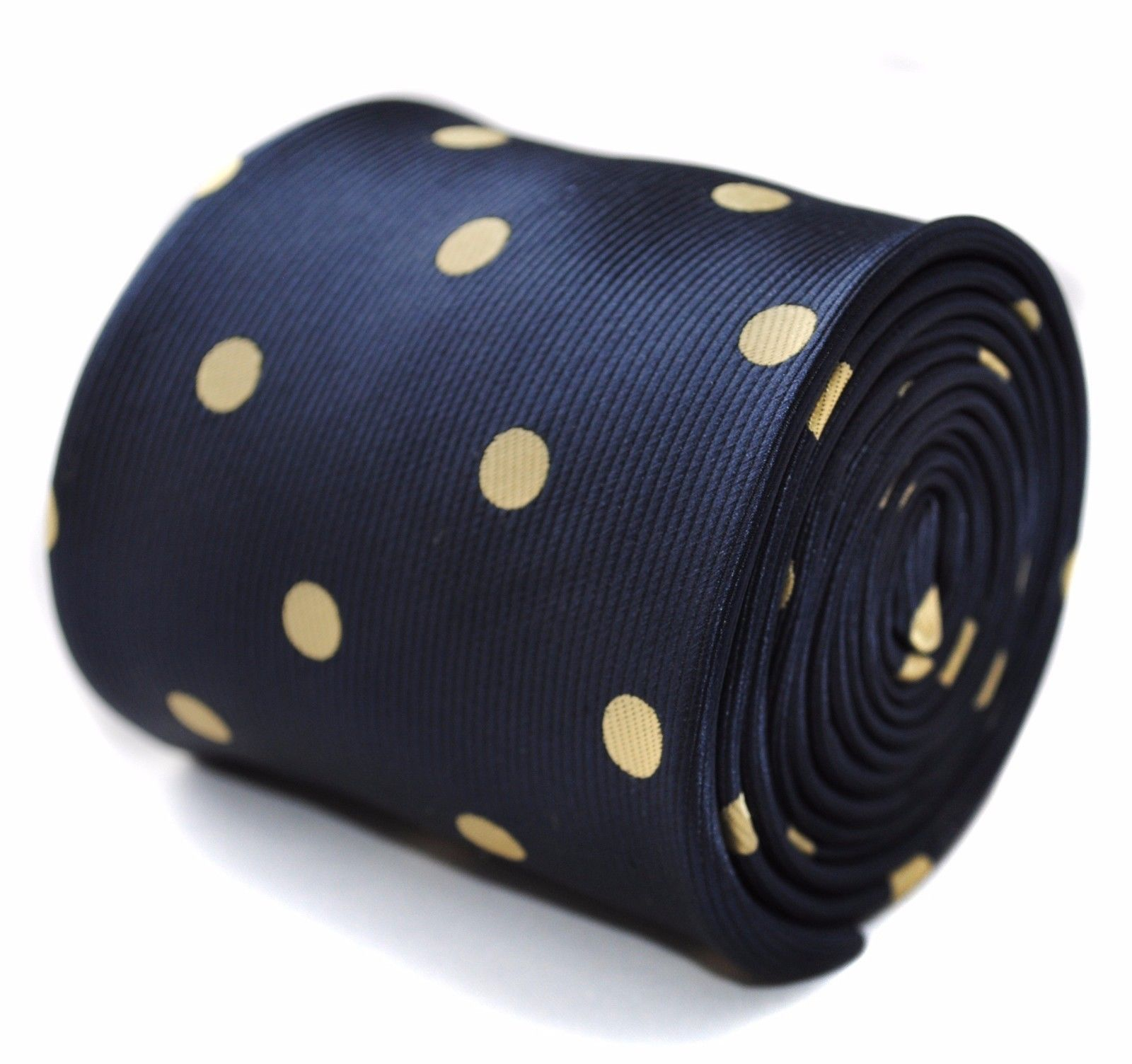 Frederick Thomas navy tie with yellow gold polka spots FT935