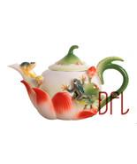 XINCI 3D Enamel Coffee Tea Pot Creative Frog Lotus Ceramic - $49.95
