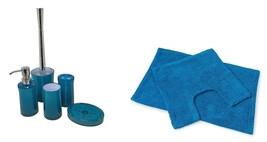 Plain Clear Teal Blue White 7 Piece Bathroom Set - $41.86