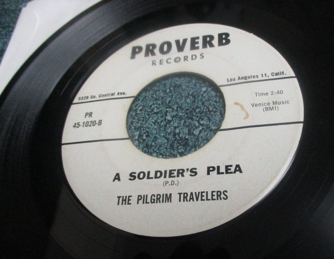 PILGRIM TRAVELERS Gospel Soul 45 PEACE IN THE VALLEY/A SOLDIER'S PLEA on PROVERB