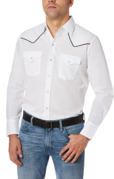 Ely Cattleman  White Long Sleeve Western Shirt with Contrast Piping