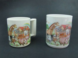 Set of 2 Noah's Ark Cups Mugs - Peco Ware by Sheng & Jiumn - Plastic - $9.90