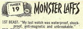 Spooky 1963 Monster Laffs Midgee Trade Card #19 GOSH IT'S PAST MY BEDTIME!! - $6.75