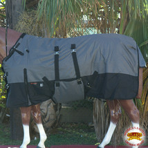 """U-L-66 66"""" HILASON 1200D WINTER WATERPROOF HORSE BLANKET BELLY WRAP GREY BLACK - $84.99"""