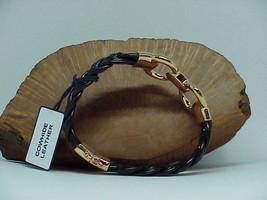 Bronzo Italia Rose Gold tone Status Black Braided link Leather Bracelet ... - $39.59