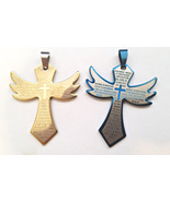 large cross pendants charms, stainless steel metal 2 piece blue gold cro... - $5.99