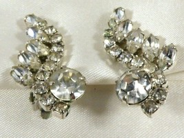 Silver Tone Metal Clear Crystal Rhinestone Clip On Earrings - $34.65