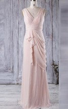 Long V Neck V Back Ruched Pink Chiffon Bridesmaid Wedding Gown Dresses 2017 - $95.00