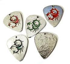 "Scorpion Guitar Pick Fine Pewter Cast Charm Epoxy Color - ~1 1/4"" Tall image 3"