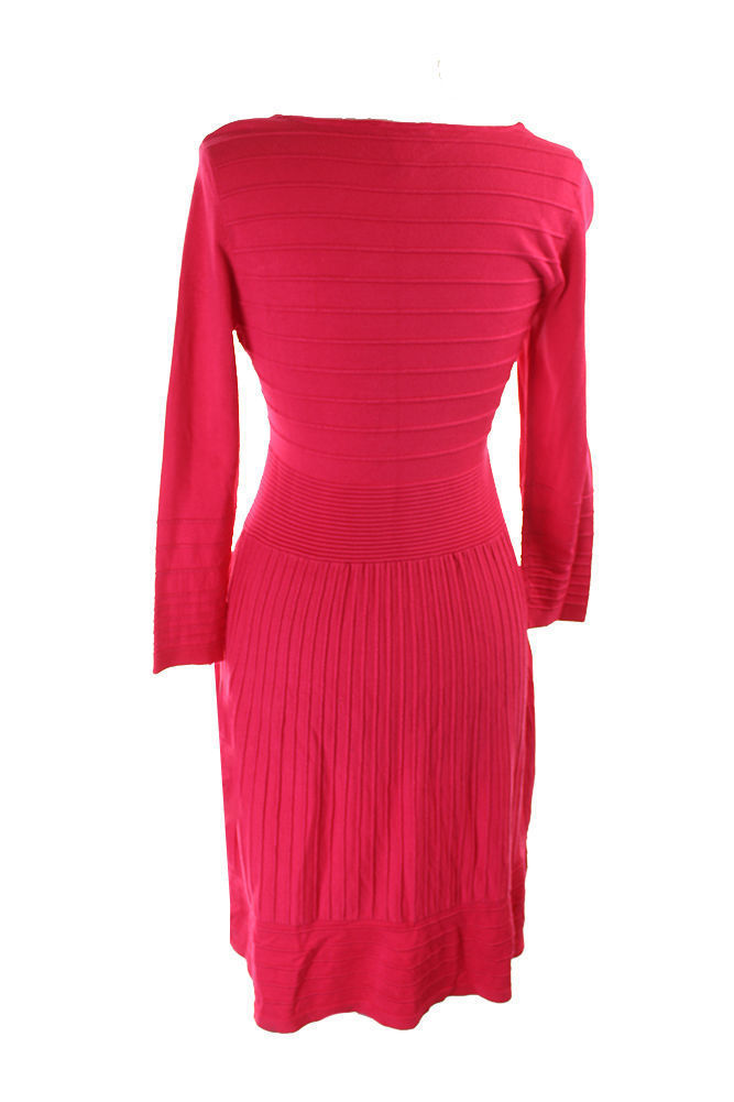 INC International Concepts A-Line Striped Ottoman Knit Sweater Fushia Dress M image 3
