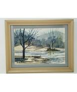 """Misty Snowy Winter River Scene Watercolor Signed Haar 18"""" x 14"""" Blue Gre... - $49.49"""
